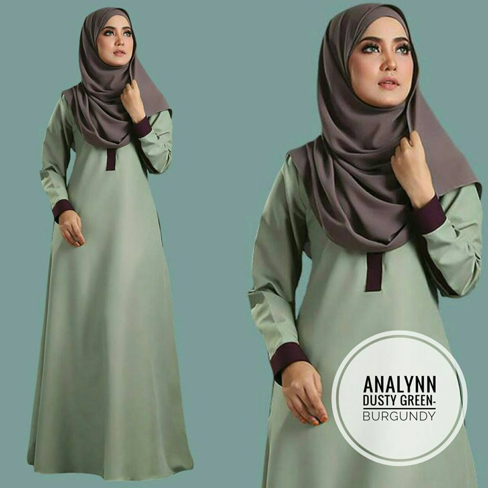 JUBAH ANALYNN DUSTY GREEN BURGUNDY