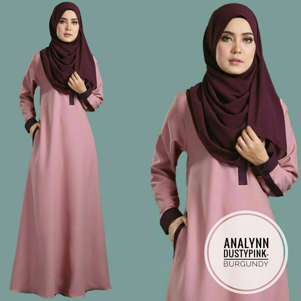 JUBAH ANALYNN DUSTY PINK BURGUNDY