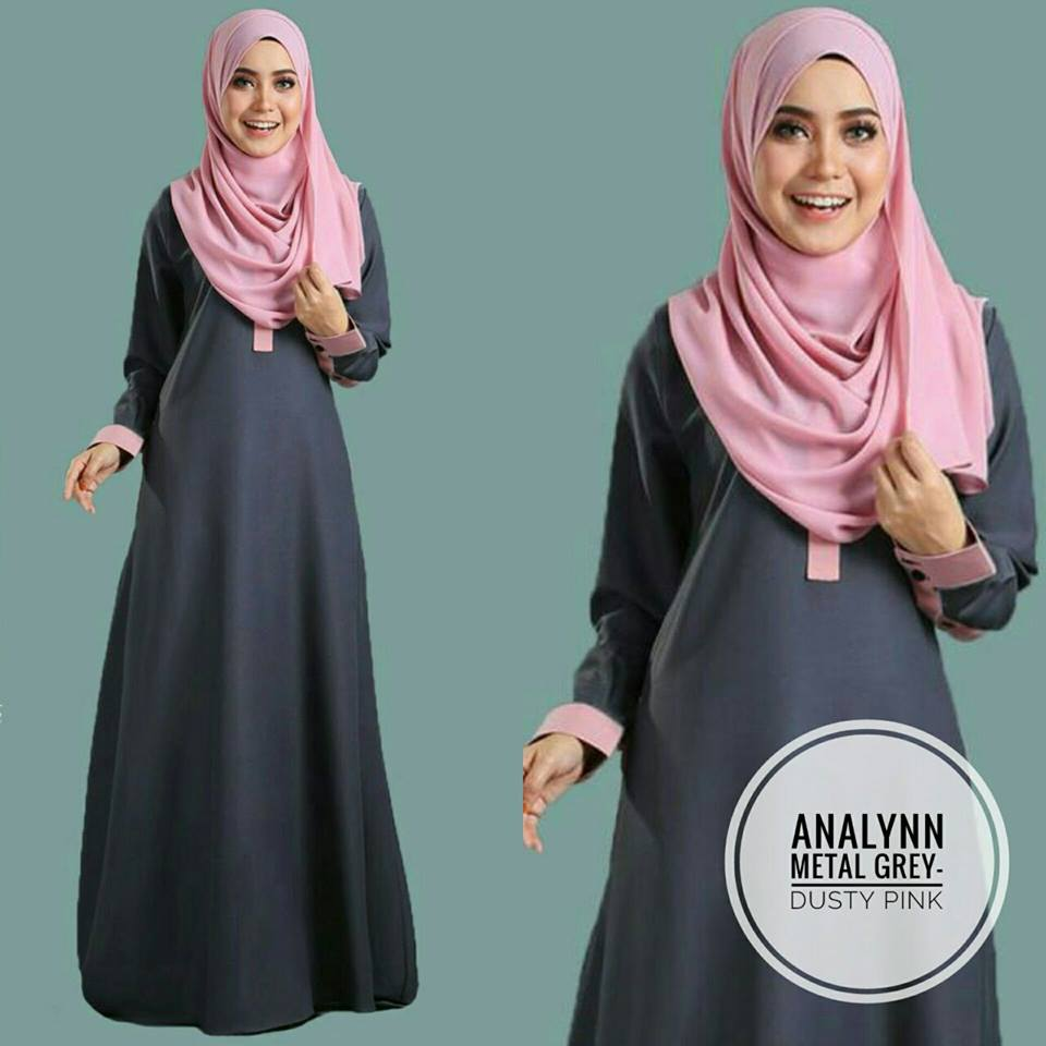 JUBAH ANALYNN GREY PINK