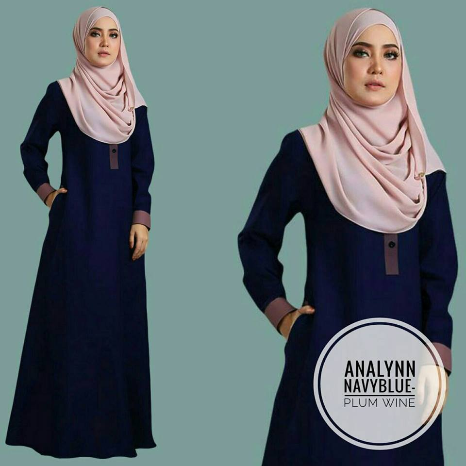 JUBAH ANALYNN NAVY BLUE PLUM