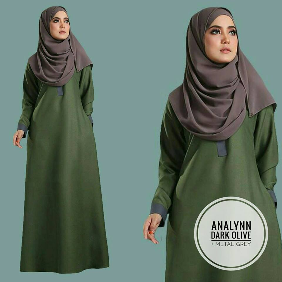 JUBAH ANALYNN OLIVE METAL GREY