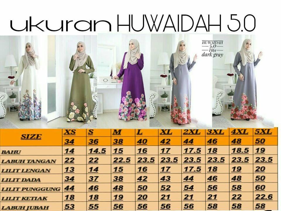 JUBAH HUWAIDAH 5.0 UKURAN