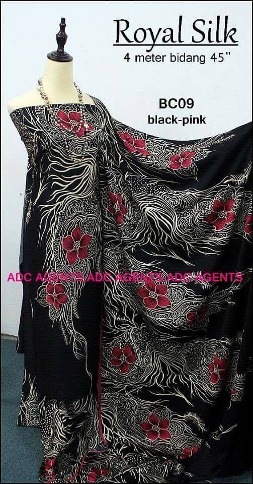 KAIN PASANG ROYAL SILK BATCH II BLACK PINK