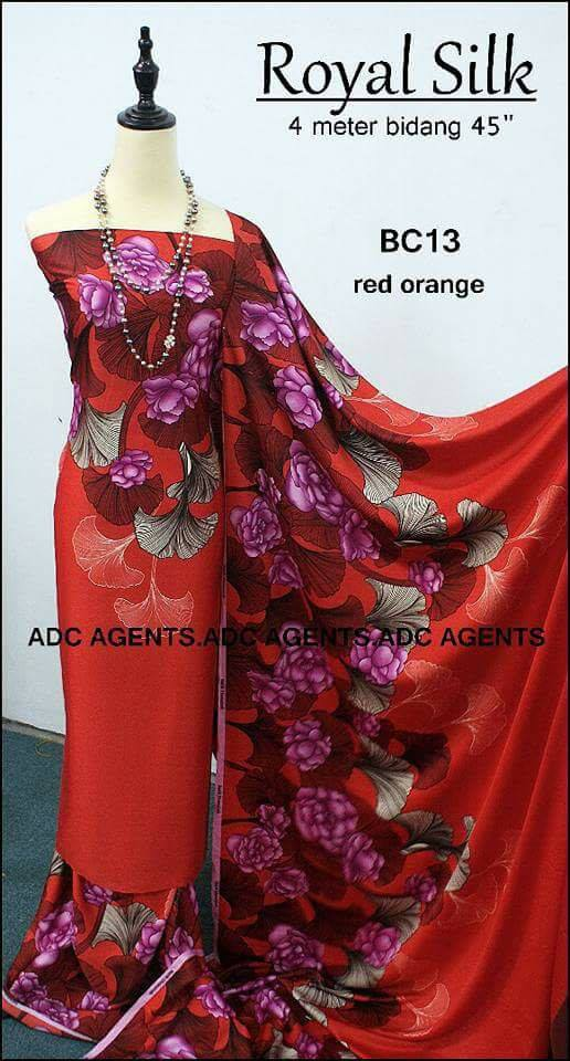 KAIN PASANG ROYAL SILK BATCH II RED ORANGE