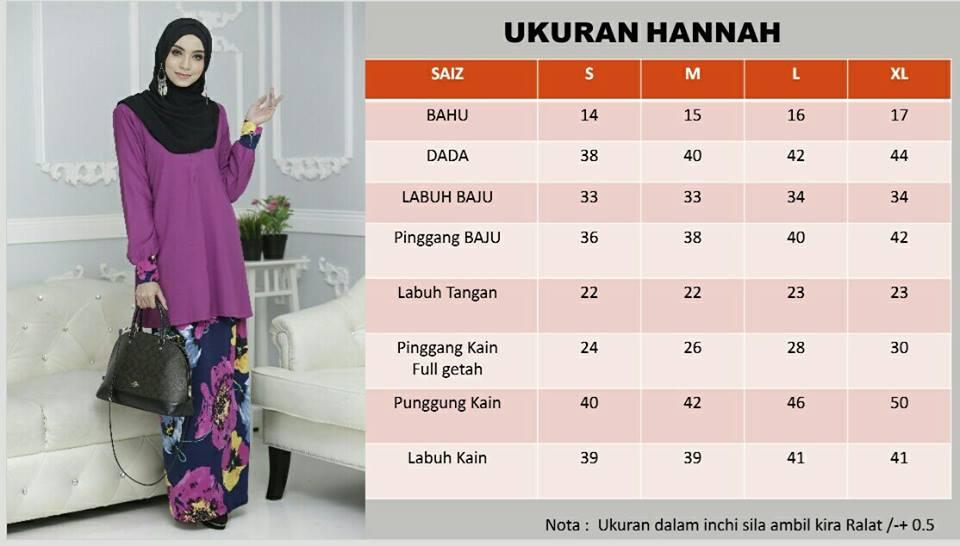 KURUNG MODEN HANNAH UKURAN
