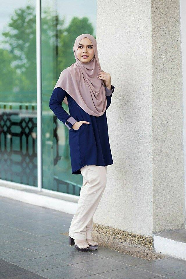 BLOUSE MUSLIMAH ASTER DARK BLUE 3