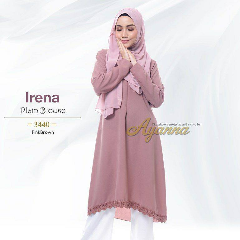 IRENA PLAIN BLOUSE BRICK BROWN 1