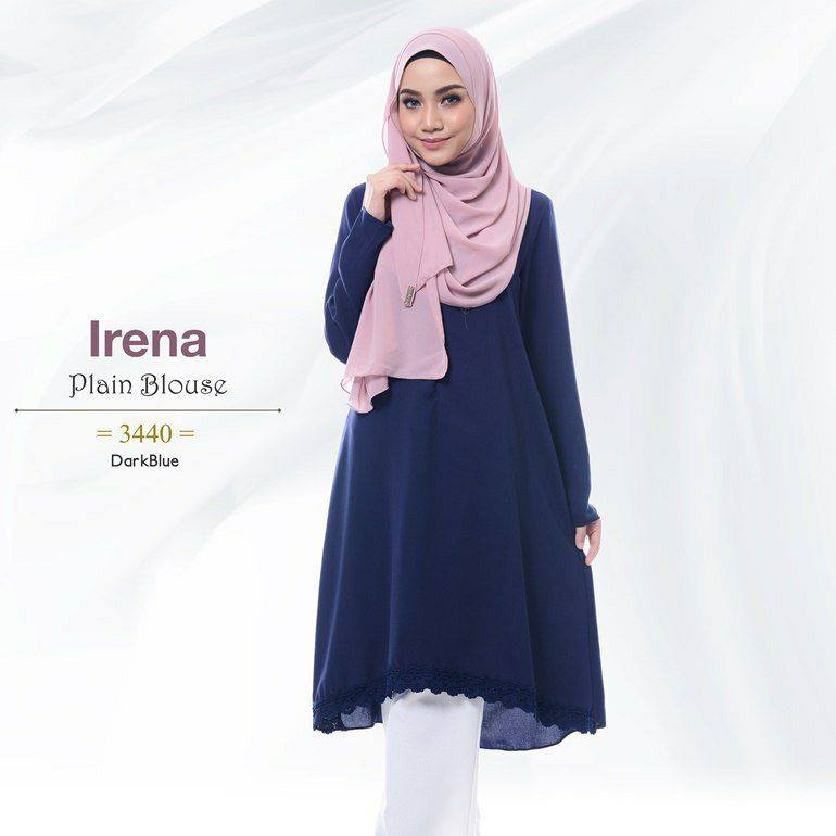 IRENA PLAIN BLOUSE DARK BLUE 1