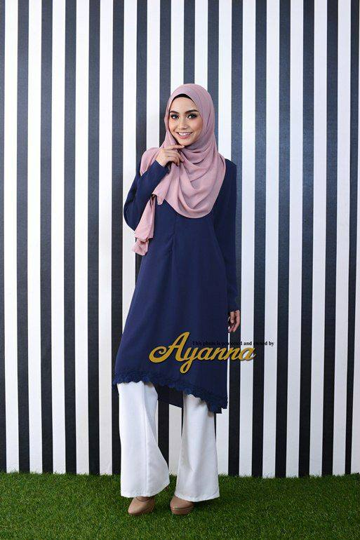 IRENA PLAIN BLOUSE DARK BLUE 2