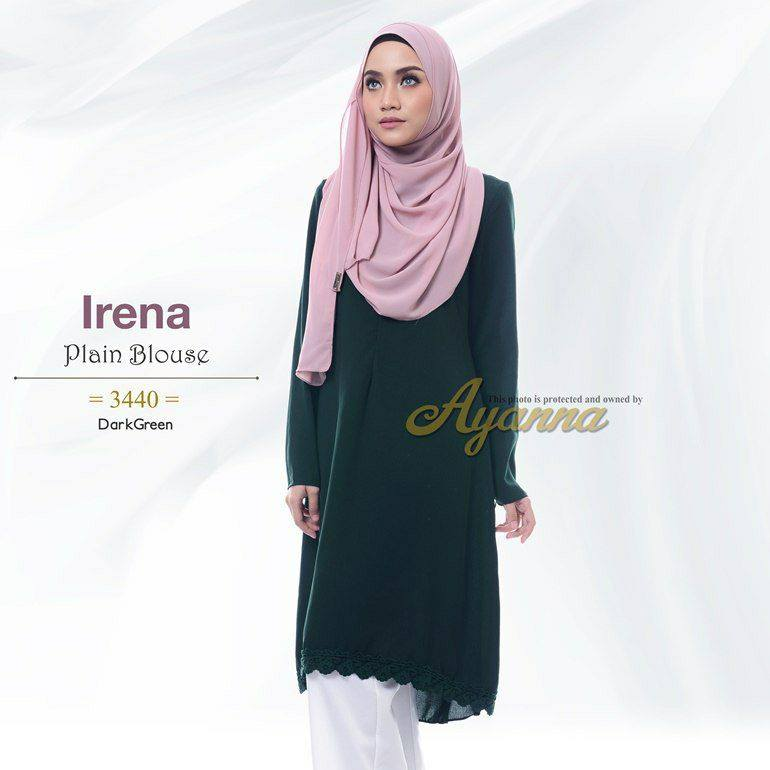 IRENA PLAIN BLOUSE DARK GREEN 1