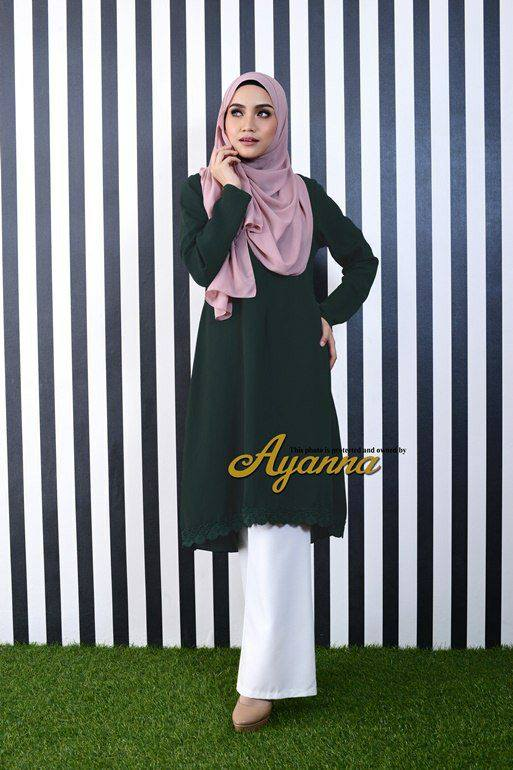 IRENA PLAIN BLOUSE DARK GREEN 2