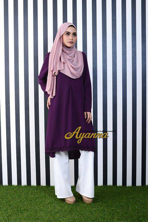 IRENA PLAIN BLOUSE PURPLE 2
