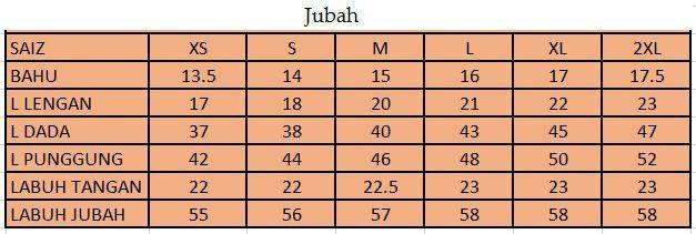JUBAH 3D EKSKLUSIF UKURAN