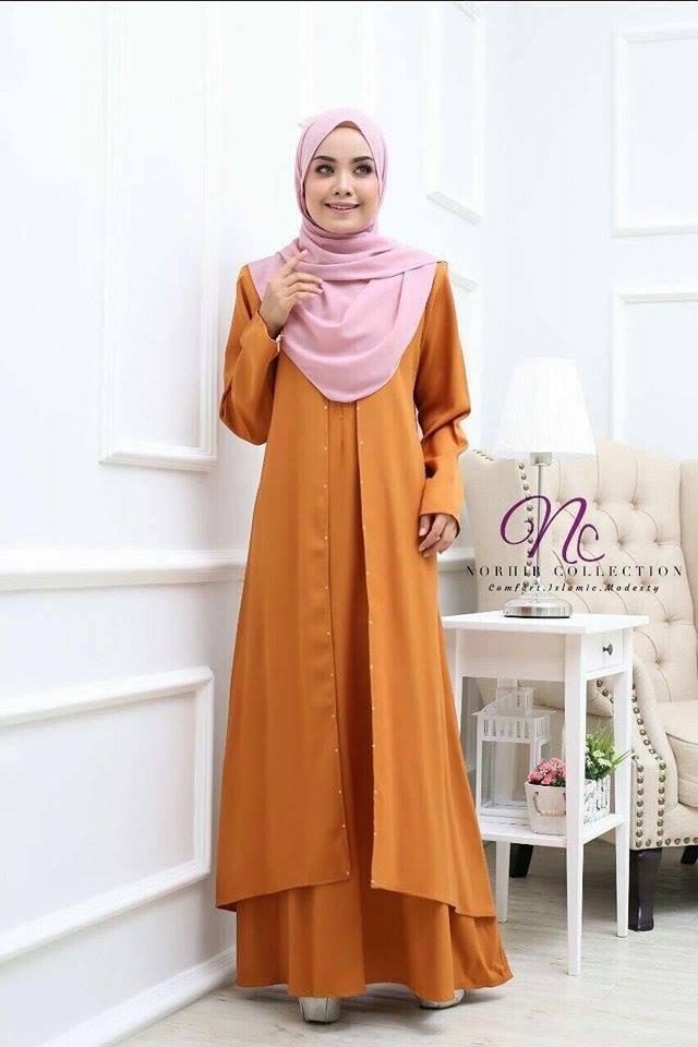 JUBAH LAYER INSYIRAH DARK GOLD 1