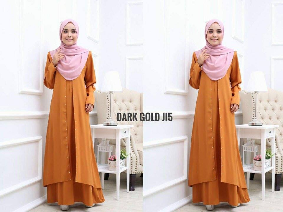 JUBAH LAYER INSYIRAH DARK GOLD 2