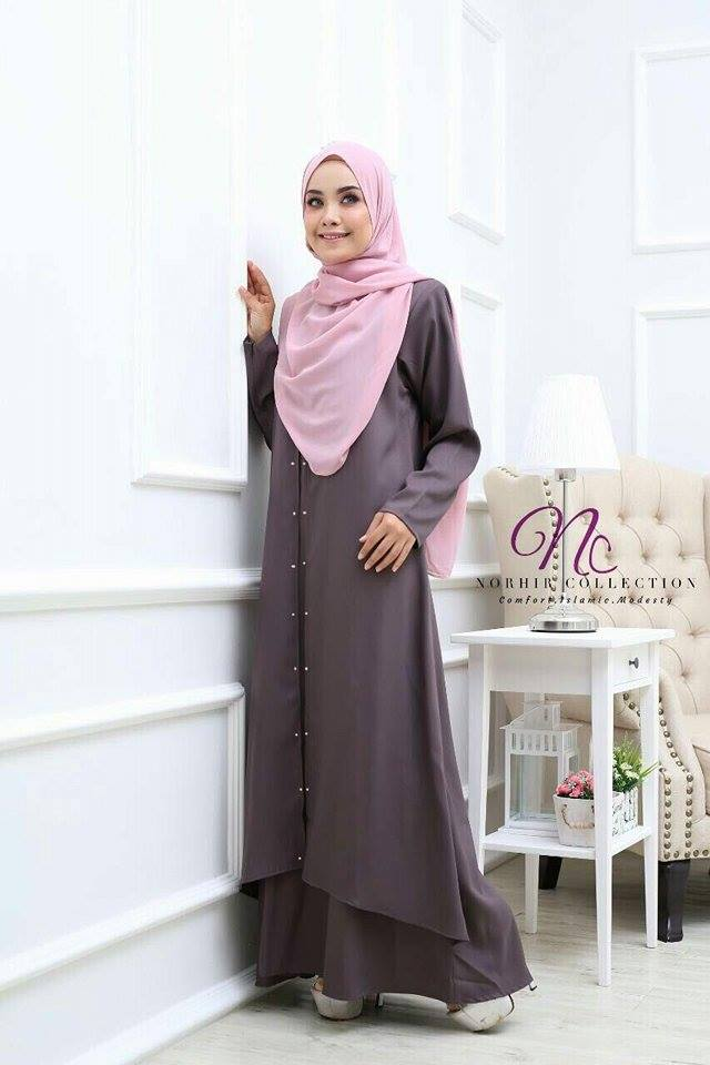 JUBAH LAYER INSYIRAH DARK GREY 1
