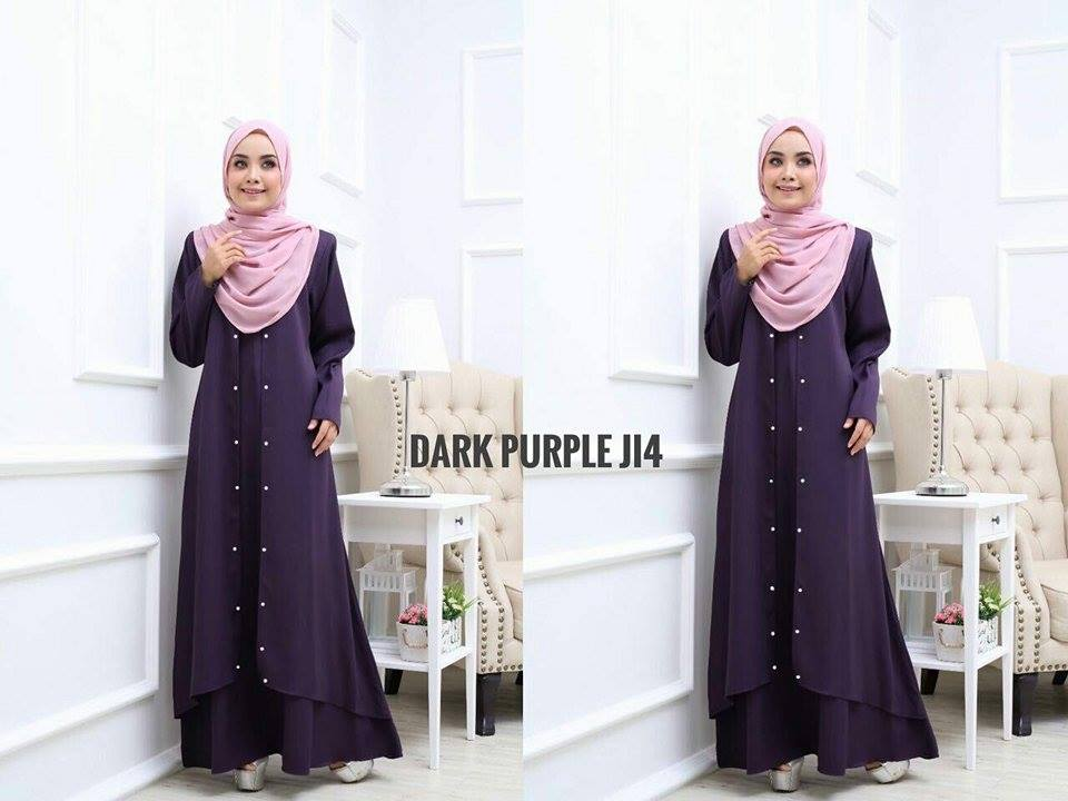 JUBAH LAYER INSYIRAH DARK PURPLE 1
