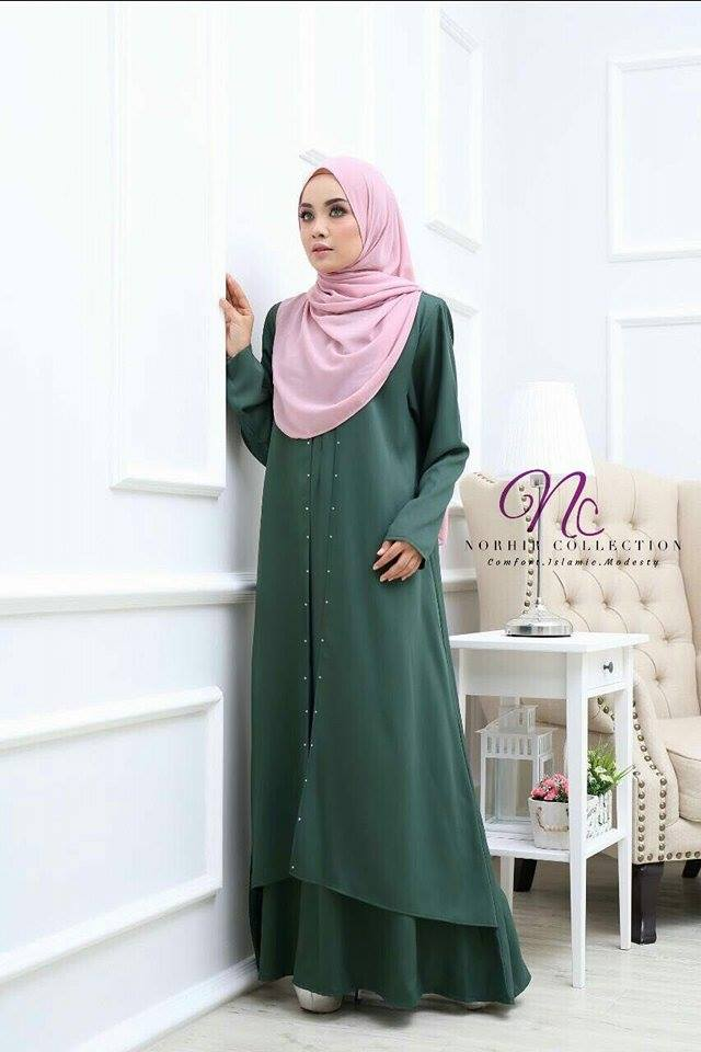 JUBAH LAYER INSYIRAH DUSTY GREEN 1