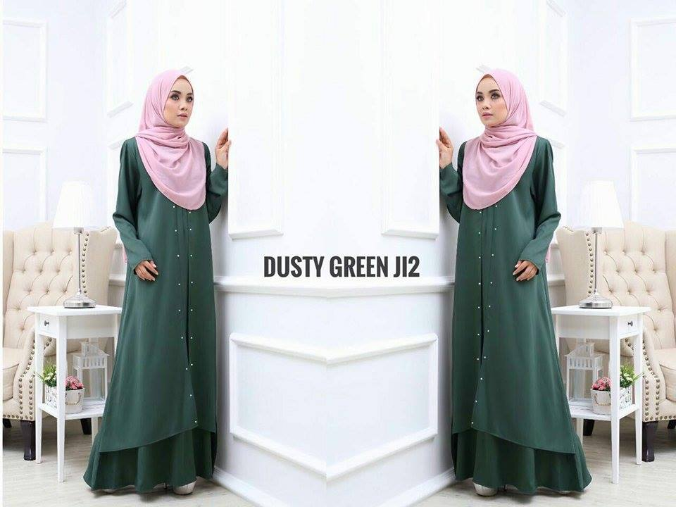 JUBAH LAYER INSYIRAH DUSTY GREEN 2