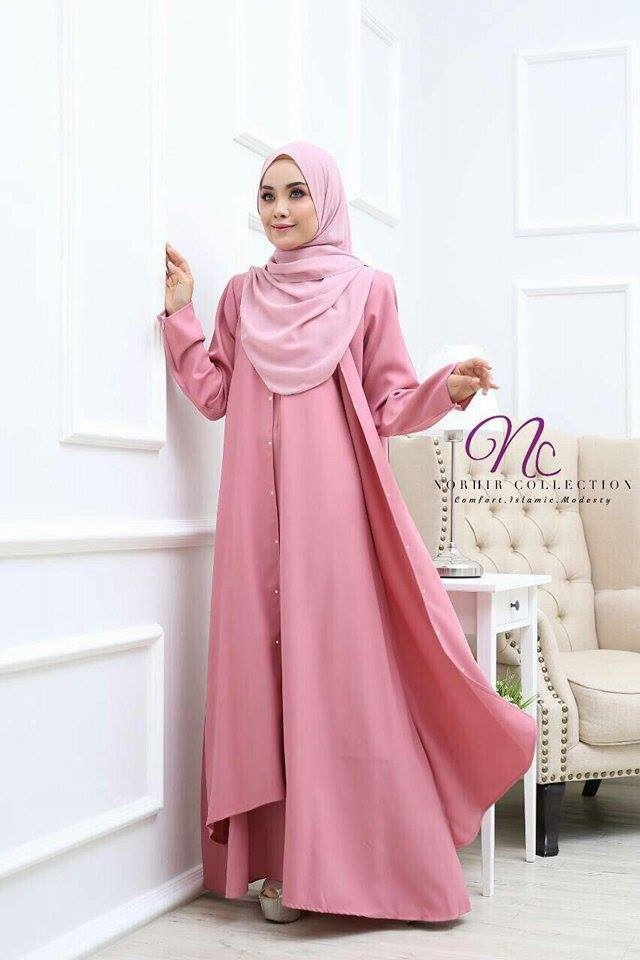 JUBAH LAYER INSYIRAH DUSTY PINK 1