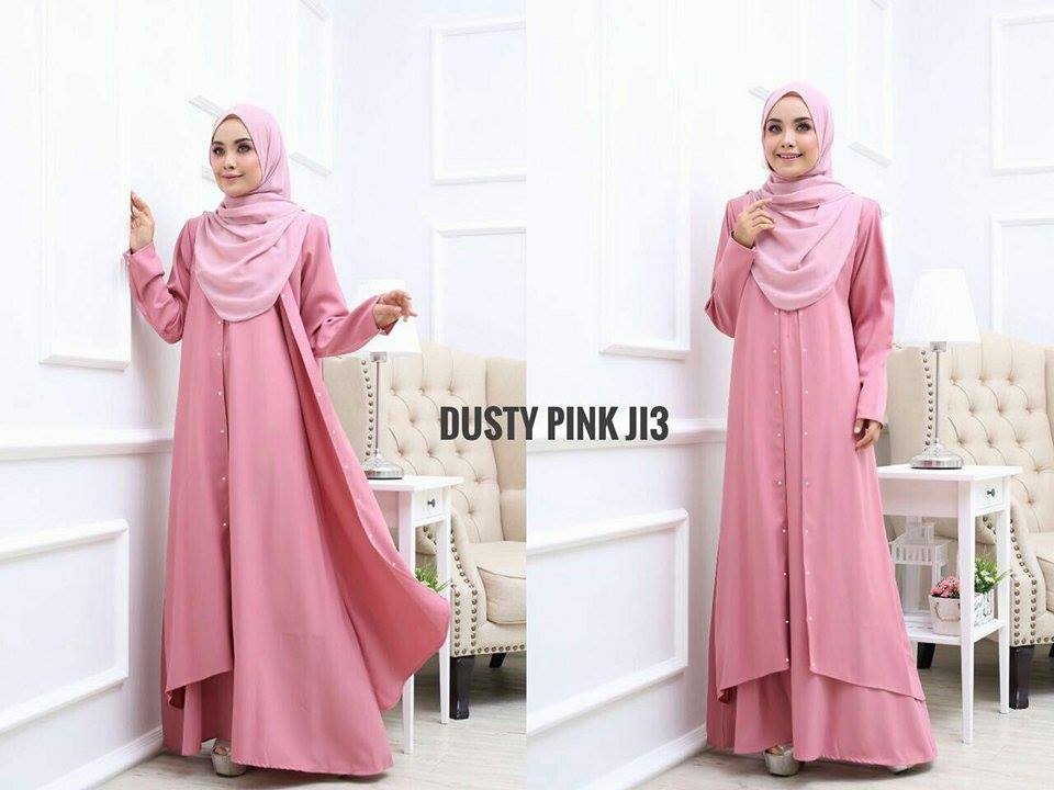 JUBAH LAYER INSYIRAH DUSTY PINK 2