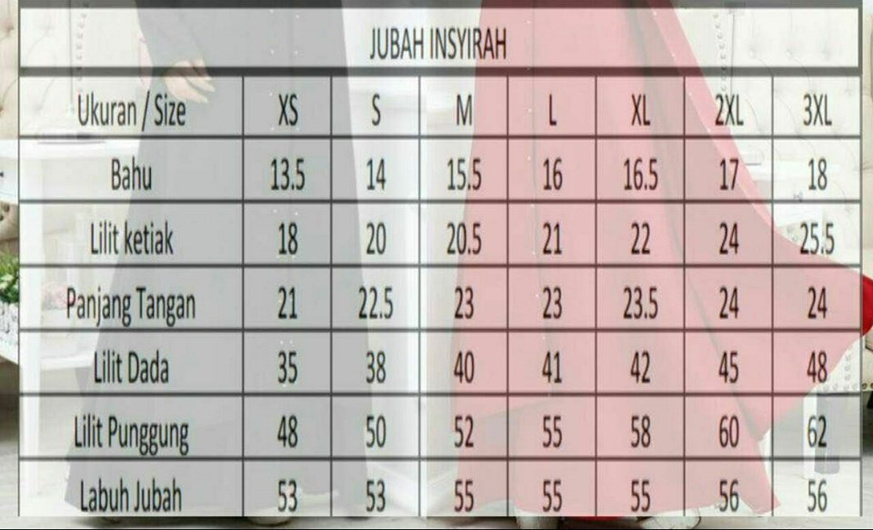 JUBAH LAYER INSYIRAH UKURAN