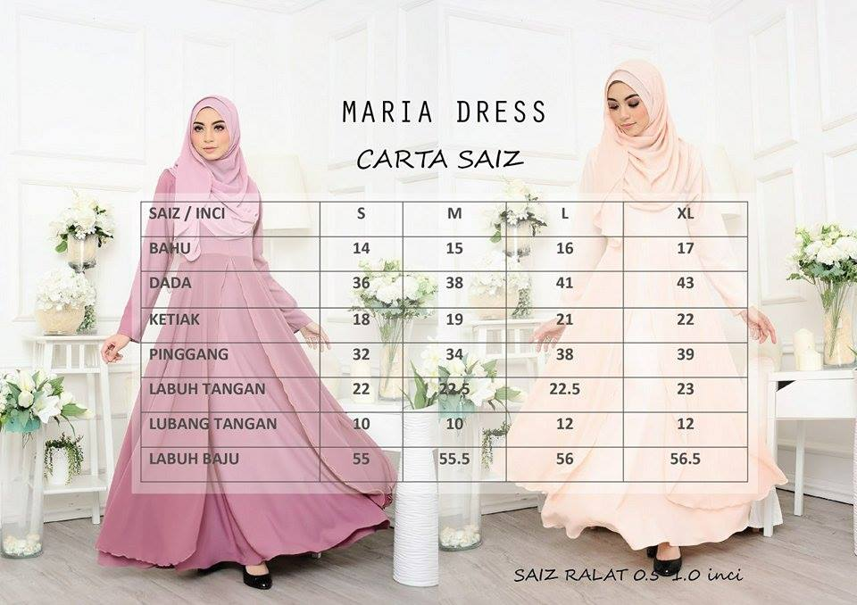 JUBAH LAYER MARIA MR UKURAN