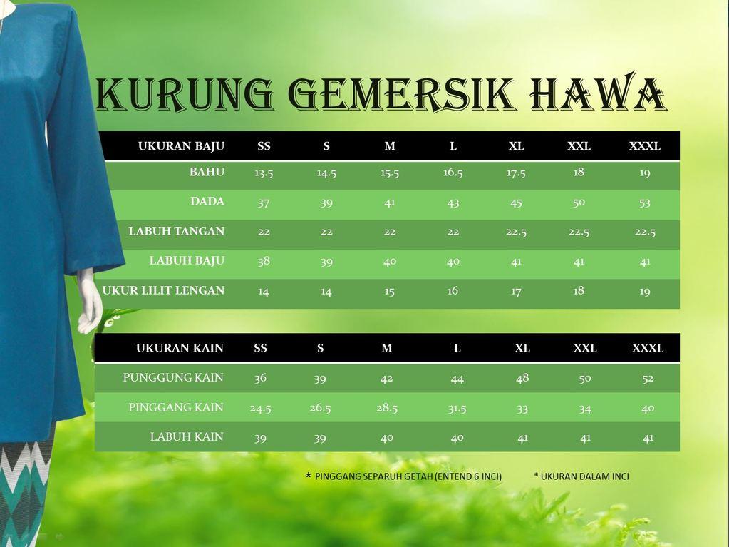 KURUNG PAHANG GEMERSIK HAWA KGH UKURAN