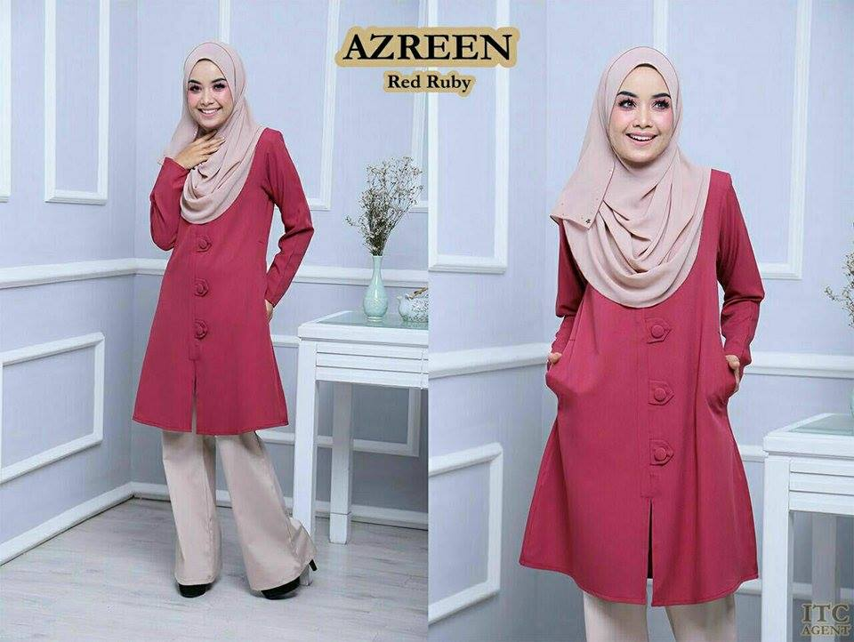 BLOUSE AZREEN BIG BUTTON RED RUBY