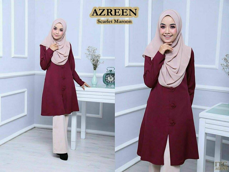 BLOUSE AZREEN BIG BUTTON SCARLET MAROON