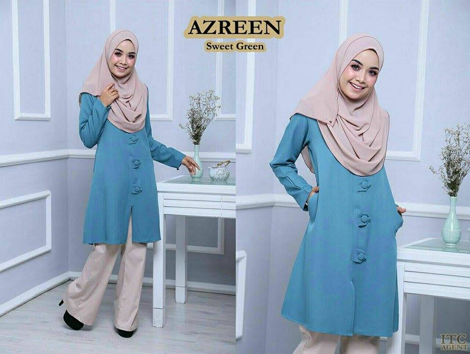 BLOUSE AZREEN BIG BUTTON SWEET GREEN