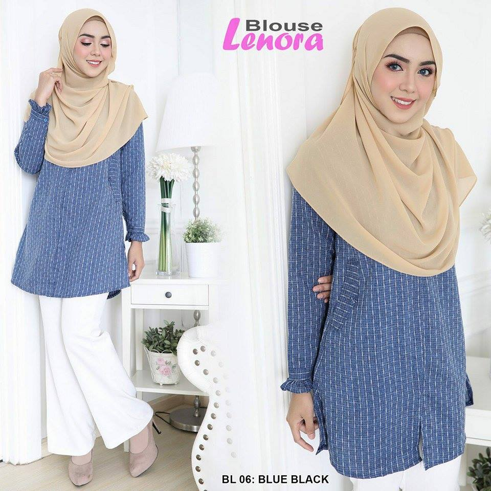 BLOUSE LENORA BLUE BLACK