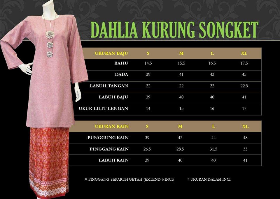 DAHLIA KURUNG PAHANG SONGKET DKS UKURAN