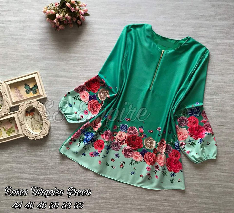 BLOUSE MUSLIMAH ROSES TURKOIS GREEN