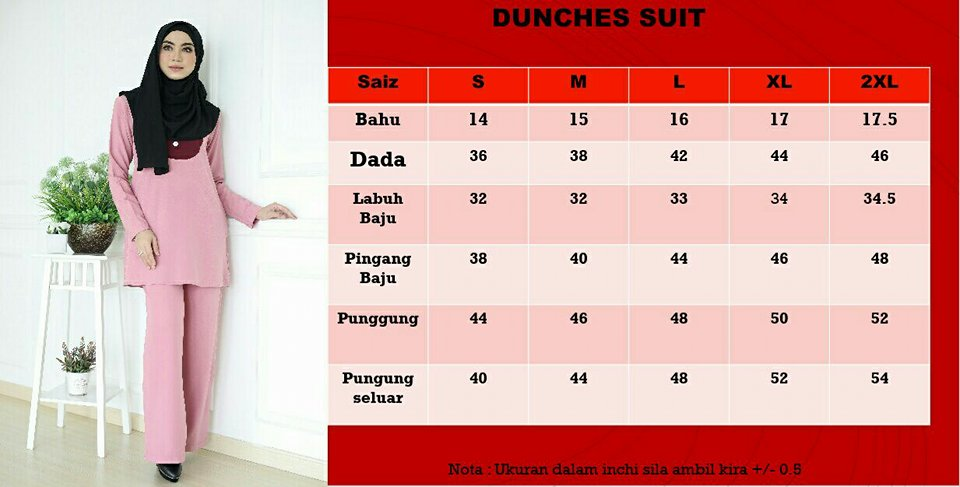 DUNCHES SUIT DC UKURAN