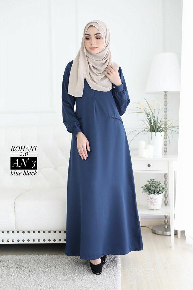 JUBAH ROHANI BLUE BLACK 1