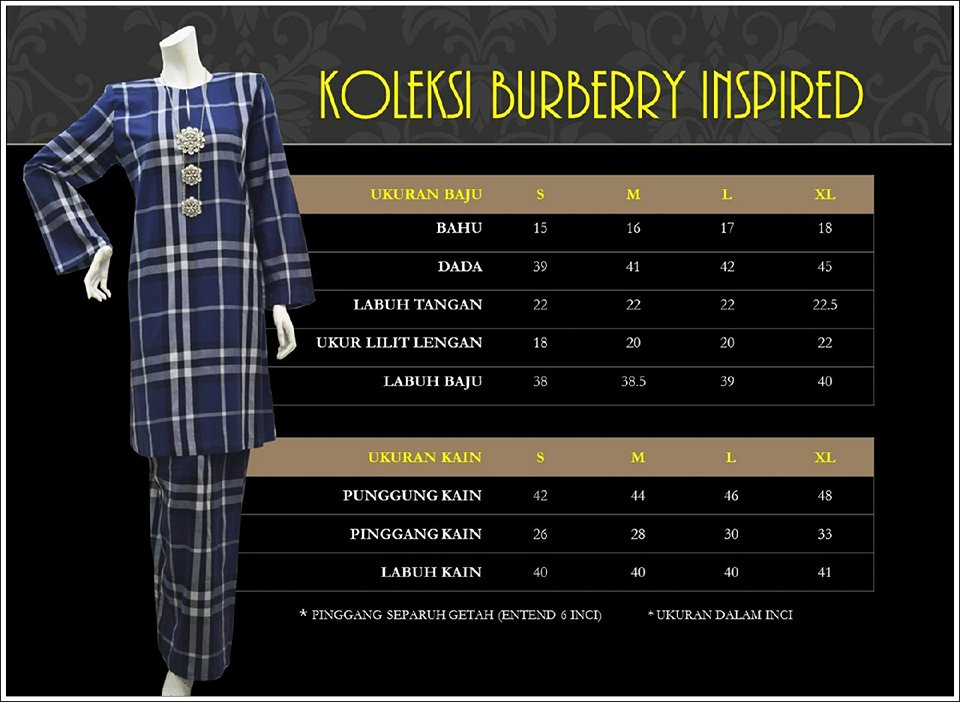 KURUNG BURBERRY INSPIRED KBI UKURAN