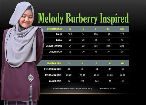 KURUNG MODEN MELODY BURBERRY INSPIRED MBI UKURAN