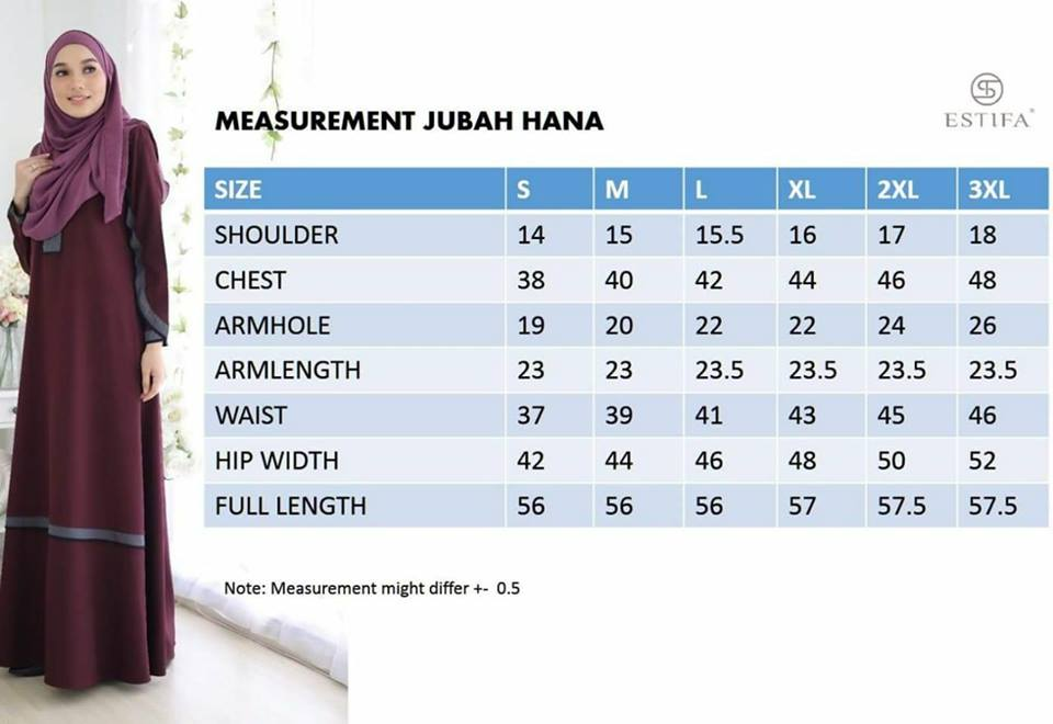 JUBAH CREPE HANA UKURAN