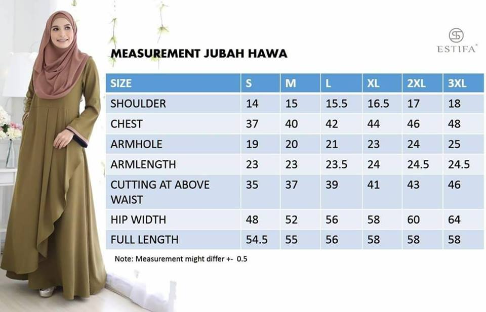 JUBAH CREPE HAWA UKURAN