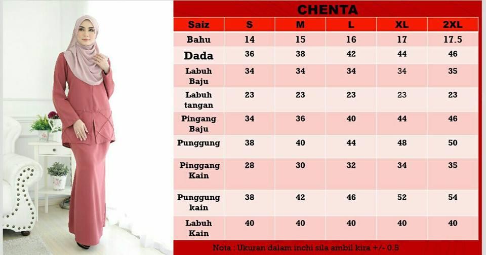 KURUNG MODEN CHENTA RAYA 2018 CT UKURAN
