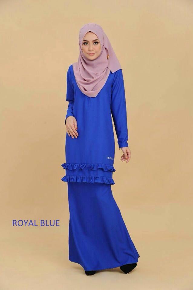 KURUNG MODEN CREPE RAYA CLOVER ROYAL BLUE