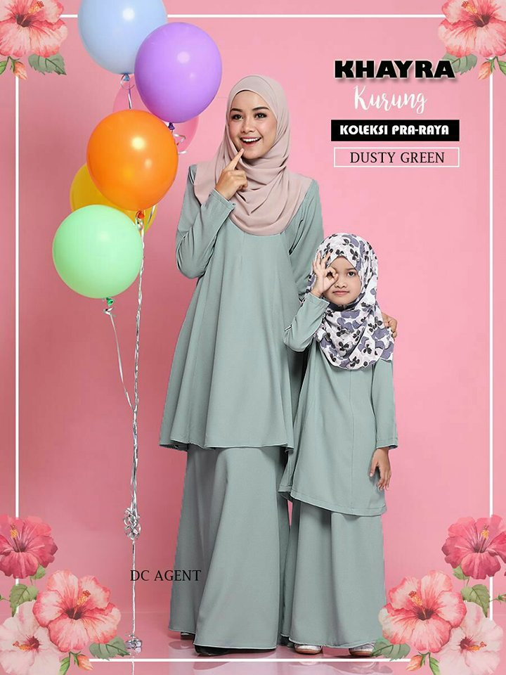 KURUNG MODEN RAYA SEDONDON 2018 KHAYRA DUSTY GREEN