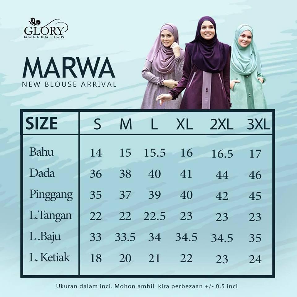BLOUSE MUSLIMAH CREPE MARWA MW00 UKURAN