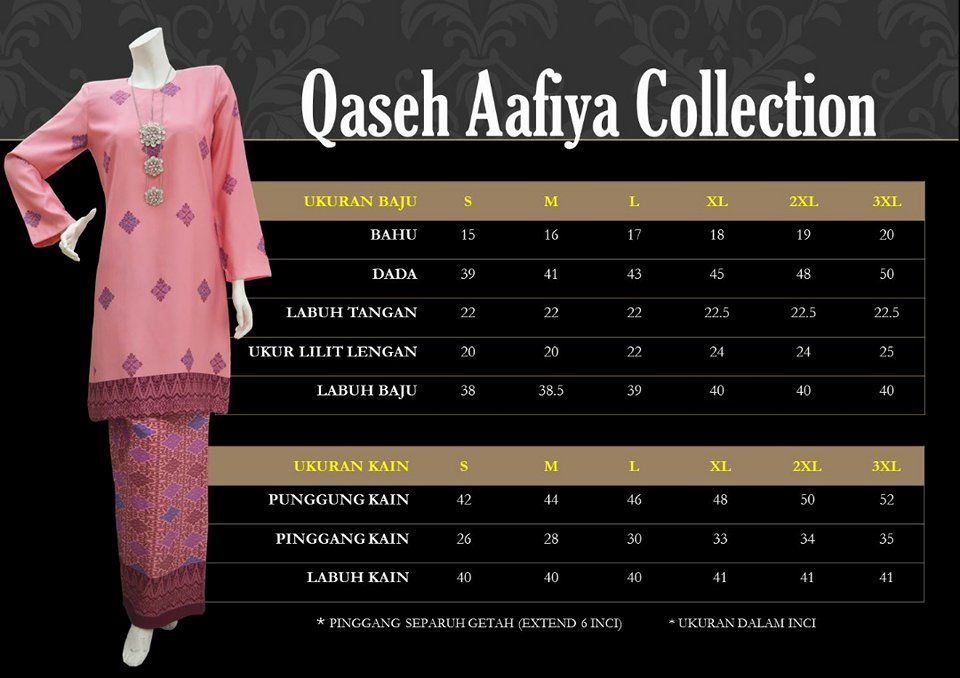 KURUNG SONGKET RAYA 2018 QASEH AAFIYA COLLECTION QAC UKURAN