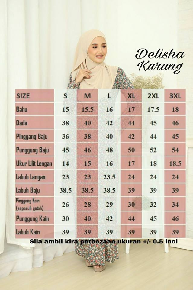 BAJU KURUNG PAHANG COTTON RAYA 2018 DELISHA DK UKURAN