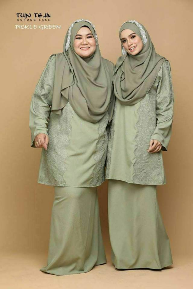KURUNG RAYA LACE TUN TEJA PICKLE GREEN 1