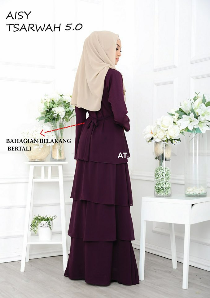 DRESS RAYA CREPE CHIFFON LINING AISY TSARWAH 5.0 AT BACK