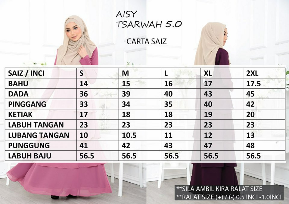 DRESS RAYA CREPE CHIFFON LINING AISY TSARWAH 5.0 AT UKURAN