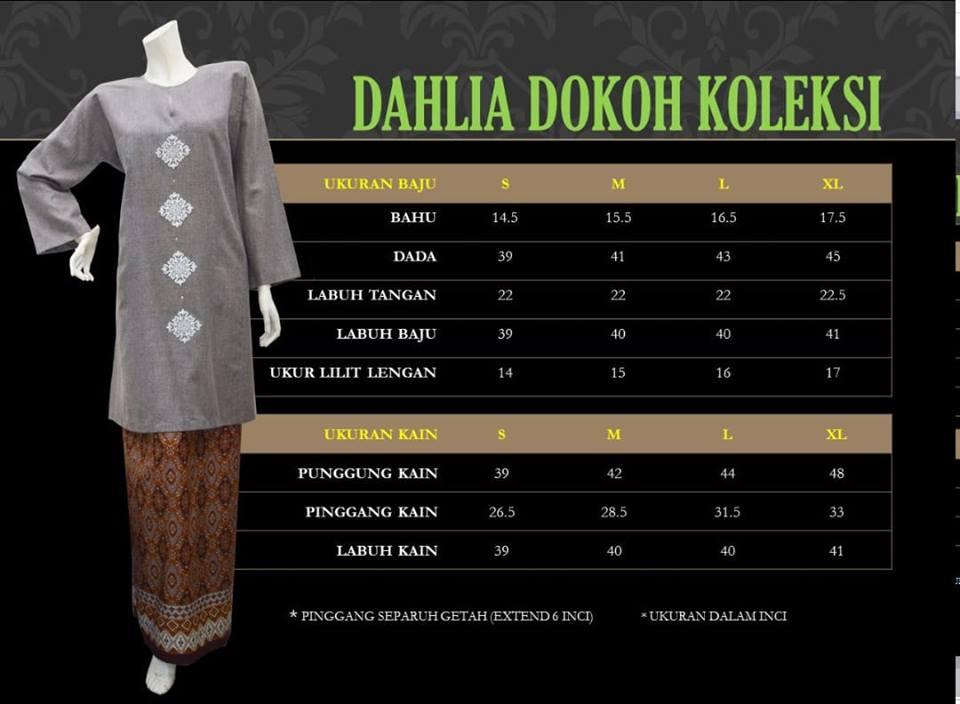 BAJU KURUNG PAHANG DOKOH DAHLIA DDK UKURAN